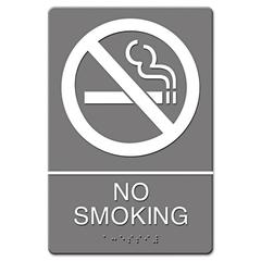 Headline Sign ADA Sign, No Smoking Symbol w/Tactile Graphic, Molded Plastic, 6 x 9, Gray