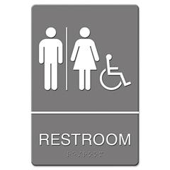 Headline Sign ADA Sign, Restroom/Wheelchair Accessible Tactile Symbol, Molded Plastic, 6 x 9