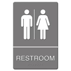 Headline Sign ADA Sign, Restroom Symbol Tactile Graphic, Molded Plastic, 6 x 9, Gray