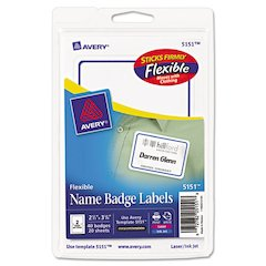 Flexible Adhesive Name Badge Labels, 2 1/3 x 3 3/8, BE, 40/PK