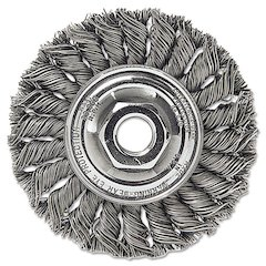 "Dualife STA-4 Twist Knot Wire Wheel, 4"" dia, Stainless Steel, .014 Wire"