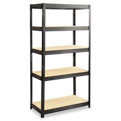 Boltless Steel/Particleboard Shelving, Five-Shelf, 36w x 18d x 72h, Black