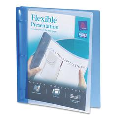 "Avery Flexible Round Ring Binder, 11 x 8 1/2, 1"" Capacity, Blue"