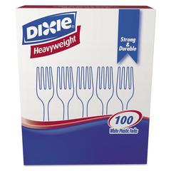 Dixie Plastic Cutlery, Heavyweight Forks, White, 100/Box