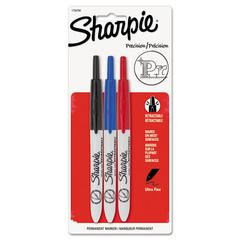 Sharpie Retractable Permanent Marker, Ultra Fine Tip, Black, Blue, Red, 3/Set