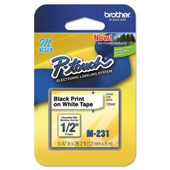 "Brother P-Touch M Series Tape Cartridge for P-Touch Labelers, 1/2""w, Black on White"
