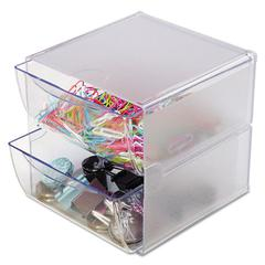 deflecto Two Drawer Cube Organizer, Clear Plastic, 6 x 7-1/8 x 6