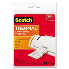 Scotch Index Card Size Thermal Laminating Pouches, 5 mil, 5 3/8 x 3 3/4, 20/Pack
