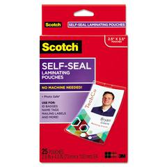 Scotch Self-Sealing Laminating Pouches w/Clip, 12.5 mil, 2 15/16 x 4 1/16, 25/Pack