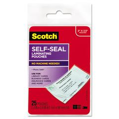 Scotch Self-Sealing Laminating Pouches, 9.5 mil, 2 7/16 x 3 7/8, Business Card Size, 25