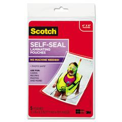 Scotch Self-Sealing Laminating Pouches, 9.5 mil, 4 3/8 x 6 3/8, Photo Size, 5/Pack