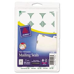 "Printable Mailing Seals, 1"" dia., Clear, 480/Pack"