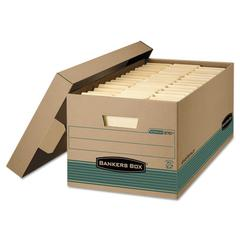 Bankers Box STOR/FILE Storage Box, Legal, Locking Lift-off Lid, Kraft/Green, 12/Carton