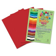 Roselle Premium Sulphite Construction Paper, 76 lbs., 12 x 18, Scarlet, 50/Pack