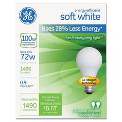 GE Halogen A-Line Bulb, A19, 100 Watts, 2/Pack