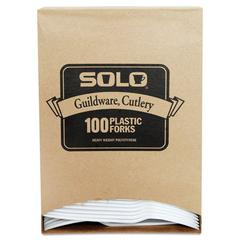SOLO Cup Company Guildware Extra Heavy Weight Plastic Forks, White, 100/Box