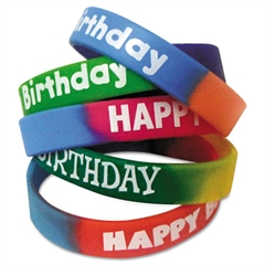 Teacher Created Resources Two-Toned Happy Birthday Wristbands, 5 Designs, Assorted Colors, 10/Pack