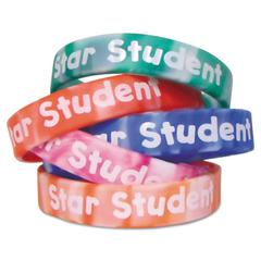 Teacher Created Resources Two-Toned Star Student Wristbands, 5 Designs, Assorted Colors, 10/Pack