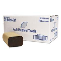 General Supply Multifold Towel, 1-Ply, Brown, 250/Pack, 16 Packs/Carton