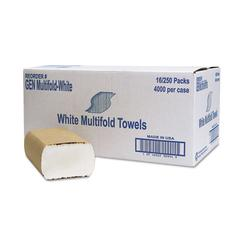 General Supply Multifold Towel, 1-Ply, White, 250/Pack, 16 Packs/Carton
