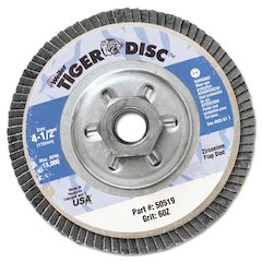 """Tiger Disc Angled Style Flap Disc, 4-1/2"""" Diameter"""