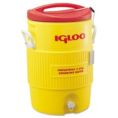 Industrial Water Cooler, 5 gal, Yellow/Red