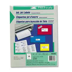 Inkjet Address Labels, 2 x 4, White, 250/Pack