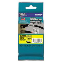 "TZe Flexible Tape Cartridge for P-Touch Labelers, 1"" x 26-1/5ft, Black on Yellow"