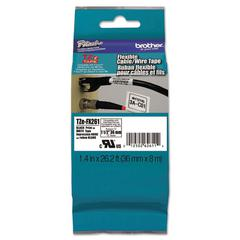 "Flexible Tape Cartridge for P-Touch Labelers, 1-1/2"" x 26-1/5 ft, Black on White"