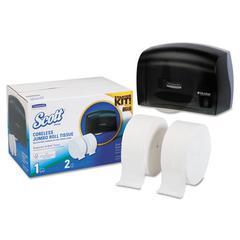 "Coreless JRT Bath Tissue Dispenser Kit, 17.25"" x 11.81"" x 11.56"", Smoke/White"