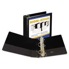 "Nonstick D-Ring View Binder, 11 x 8-1/2, 4"" Capacity, Black"