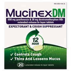 Mucinex DM Expectorant and Cough Suppressant, 20 Tablets/Box