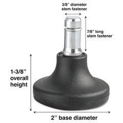 Caster Low Profile Bell Glides, K Stem, 110 lbs./Glide, 5/Set
