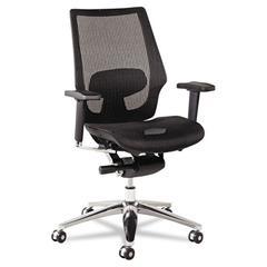 Alera K8 Series Ergonomic Multifunction Mesh Chair, Aluminum Base/Frame, Black
