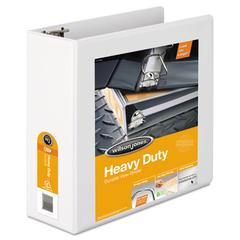 "Heavy-Duty D-Ring View Binder w/Extra-Durable Hinge, 4"" Cap, White"