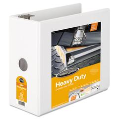 "Heavy-Duty D-Ring View Binder w/Extra-Durable Hinge, 5"" Cap, White"