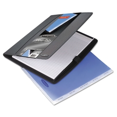 Professional View-Tab Padfolio and Sorter w/Notepad, 11 x 12 3/4, Black