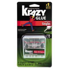 Krazy Glue Single-Use Tubes w/Storage Case, 0.07 oz, 4/Pack