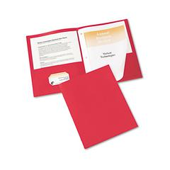 "Two-Pocket Folder, Prong Fastener, Letter, 1/2"" Capacity, Red, 25/Box"