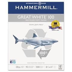 Hammermill Great White 100 Recycled Copy Paper, 20lb, 8-1/2 x 11, White, 5,000 Sheet/Carton