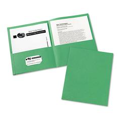 Two-Pocket Folder, 20-Sheet Capacity, Green, 25/Box