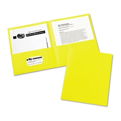 Avery Two-Pocket Folder, 20-Sheet Capacity, Yellow, 25/Box