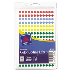 "Handwrite Only Removable Round Color-Coding Labels, 1/4"" dia, Assorted, 768/Pack"