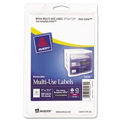 Avery Removable Multi-Use Labels, 1 x 1 1/2, White, 500/Pack