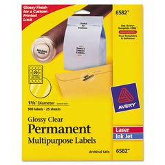 "Round Print-to-the-Edge Permanent Labels, 1 2/3"" dia, Glossy Clear, 500/Pack"