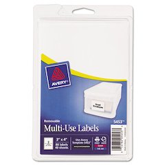 Avery Removable Multi-Use Labels, 3 x 4, White, 80/Pack