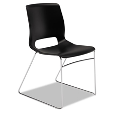 Motivate Seating High-Density Stacking Chair, Onyx/Chrome, 4/Carton
