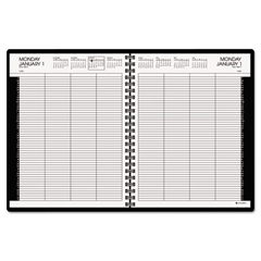 Eight-Person Group Practice Daily Appointment Book, 8 1/2 x 11, Black, 2017
