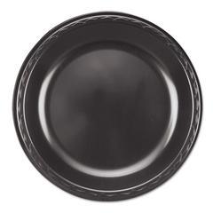 """Elite Laminated Foam Plates, 10 1/4"""" Dia, Black, Round, 125/ Pack, 4 Pack/Carton"""