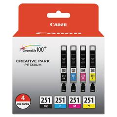 6513B004 (CLI-251) ChromaLife100+ Ink, Black/Cyan/Magenta/Yellow, 4/PK